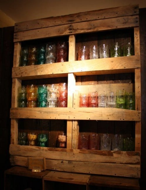 Repurposed Pallet Shelving
