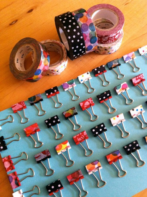 Make your binder clips pretty using washi tape