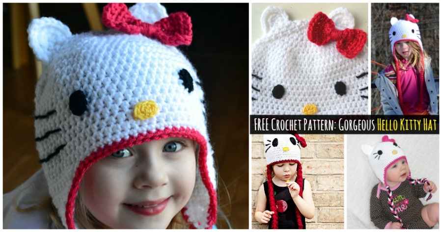 Free Crochet Pattern Gorgeous Hello Kitty Hat Diy Crafts