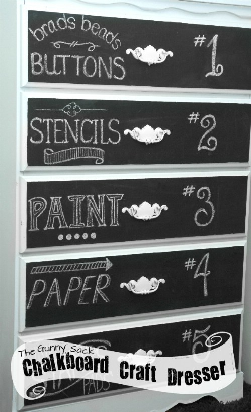 Chalk the outside of your dresser drawers too.