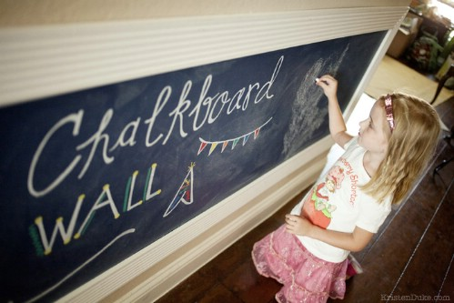 Chalkboard art wall for kids.