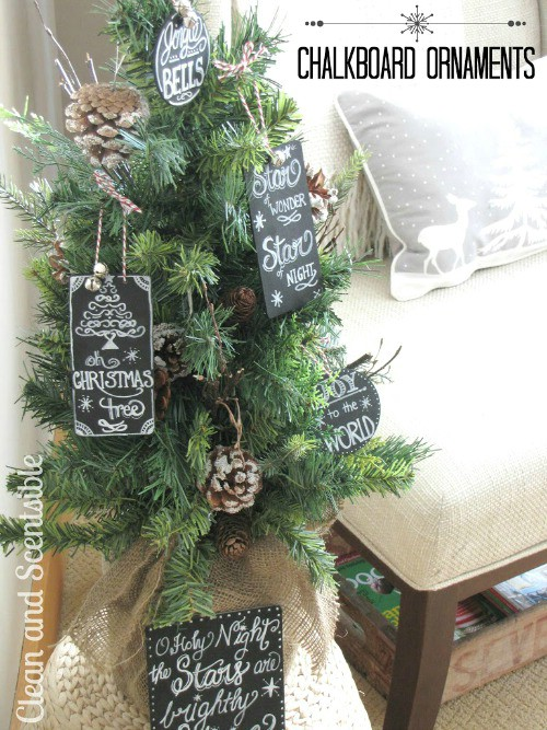 Chalkboard tree ornaments.