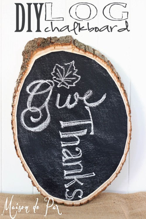 Chalkboard on a log.