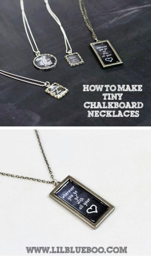 Chalkboard pendants.