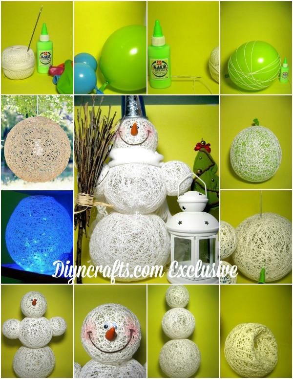 Adorable Christmas Decoration: DIY Cotton Thread Snowman