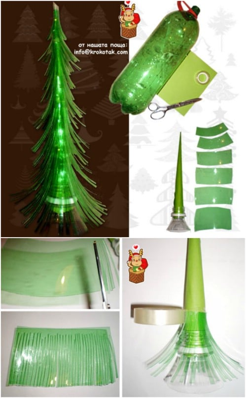 Plastic Bottle Tree - 20 Genius DIY Recycled and Repurposed Christmas Crafts
