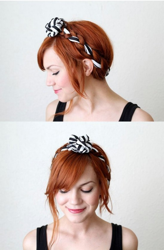 Fabric Maiden Braid - 12 Super Cute DIY Christmas Hairstyles for All Lengths