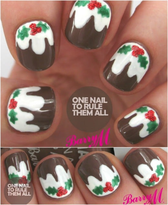 Christmas Pudding - 20 Fantastic DIY Christmas Nail Art Designs That Are Borderline Genius