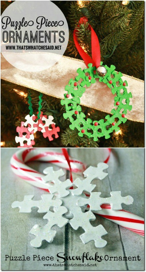 Puzzle Piece Ornaments - 20 Genius DIY Recycled and Repurposed Christmas Crafts