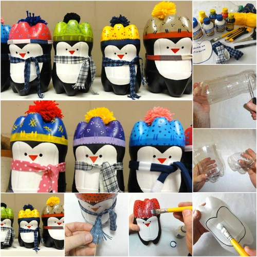 Plastic Bottle Penguins - 20 Genius DIY Recycled and Repurposed Christmas Crafts