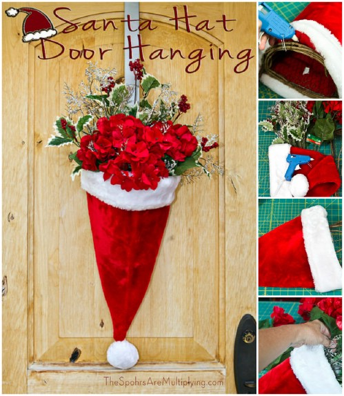 Santa Hat Door Vase - 20 Magical DIY Christmas Home Decorations You'll Want Right Now