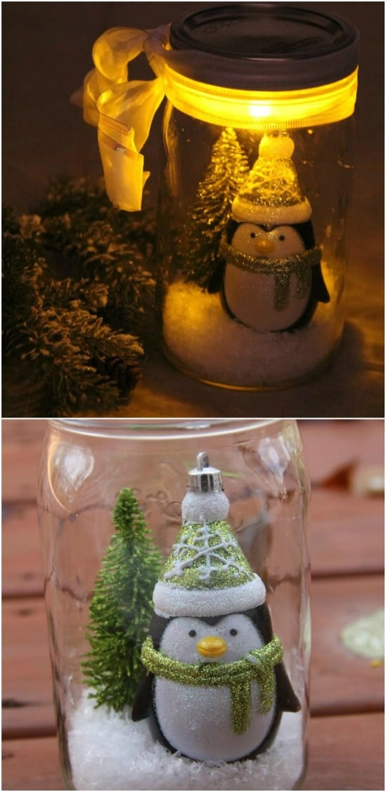 Illuminated Snow Scene - 12 Magnificent Mason Jar Christmas Decorations You Can Make Yourself
