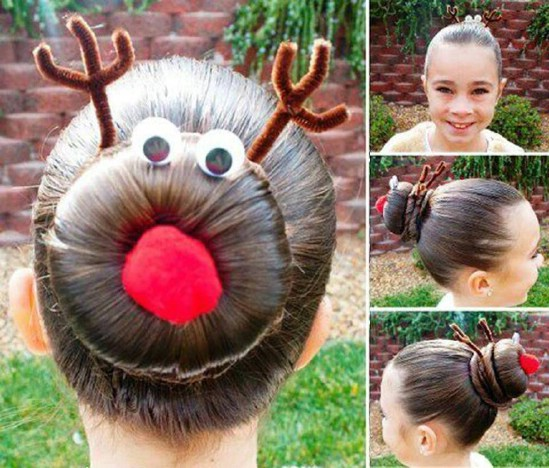 Rudolph Bun - 12 Super Cute DIY Christmas Hairstyles for All Lengths