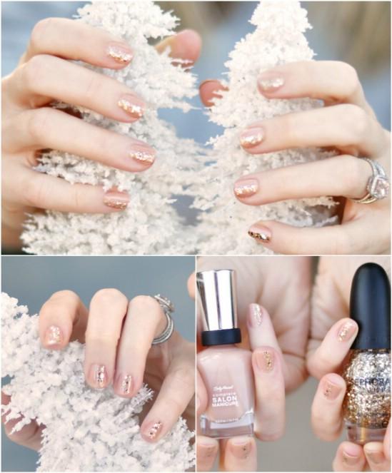 Elegant Sparkle - 20 Fantastic DIY Christmas Nail Art Designs That Are Borderline Genius