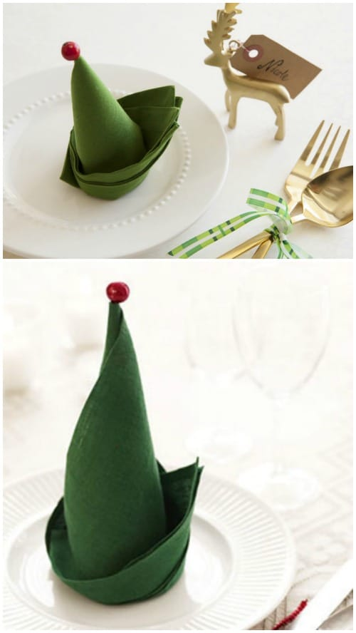 Elf Napkins - 20 Magical DIY Christmas Home Decorations You'll Want Right Now