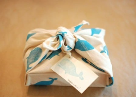 Reusable fabric gift wrap.