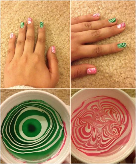 Festive Water Marbling - 20 Fantastic DIY Christmas Nail Art Designs That Are Borderline Genius