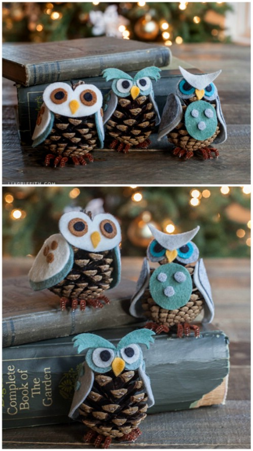 Pinecone Owls - 20 Magical DIY Christmas Home Decorations You'll Want Right Now
