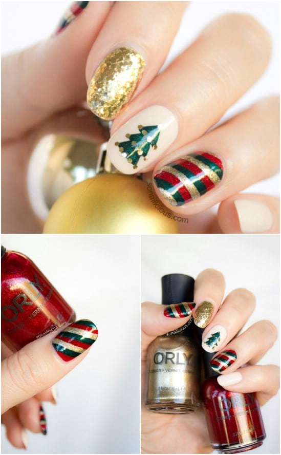 Mix 'n Match - 20 Fantastic DIY Christmas Nail Art Designs That Are Borderline Genius