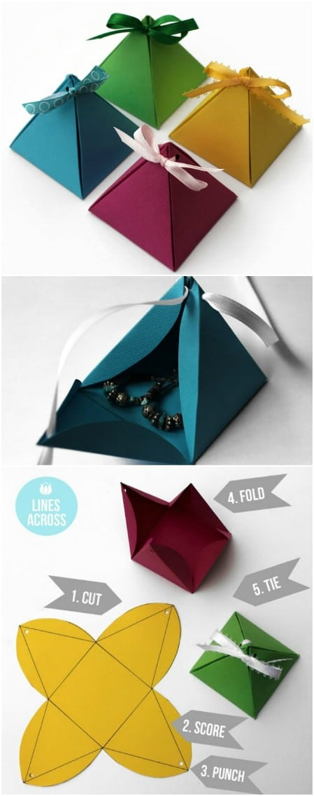 Origami pyramid gift boxes.