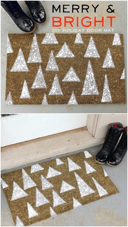 Holiday Door Mat - 20 Magical DIY Christmas Home Decorations You'll Want Right Now
