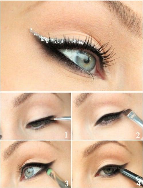 Glitter Cat-Eye - 10 Stylishly FestiveChristmas Makeup Ideas