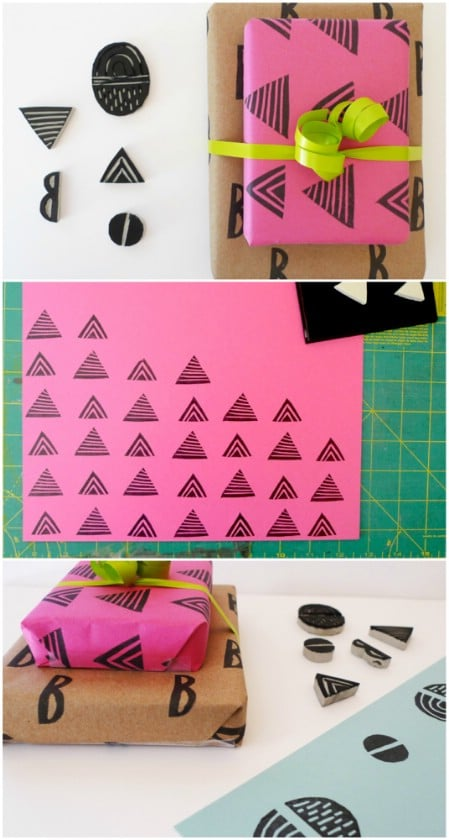 Make your own patterned wrapping paper with handmade stamps.
