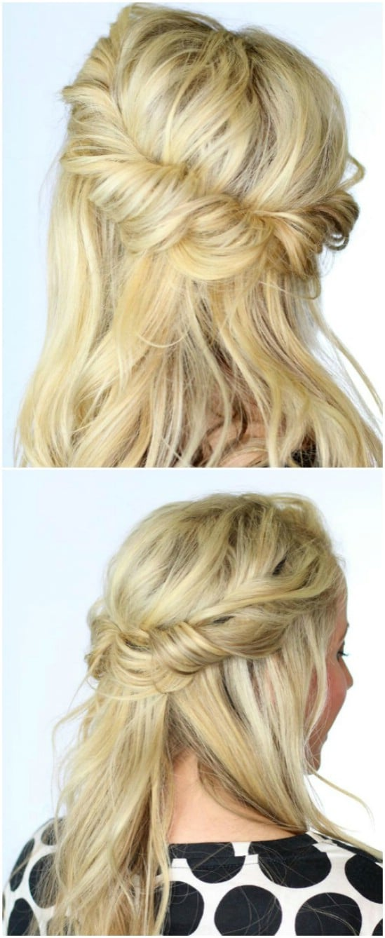 Twisted Half-Up Halo - 12 Super Cute DIY Christmas Hairstyles for All Lengths