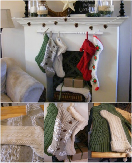 Sweater Stocking - 20 Genius DIY Recycled and Repurposed Christmas Crafts
