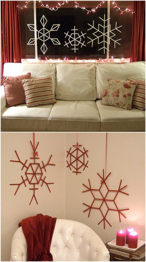 Craft Stick Snowflakes - 20 Magical DIY Christmas Home Decorations You'll Want Right Now