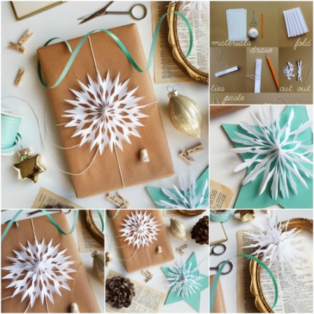 Paper snowflake gift topper.