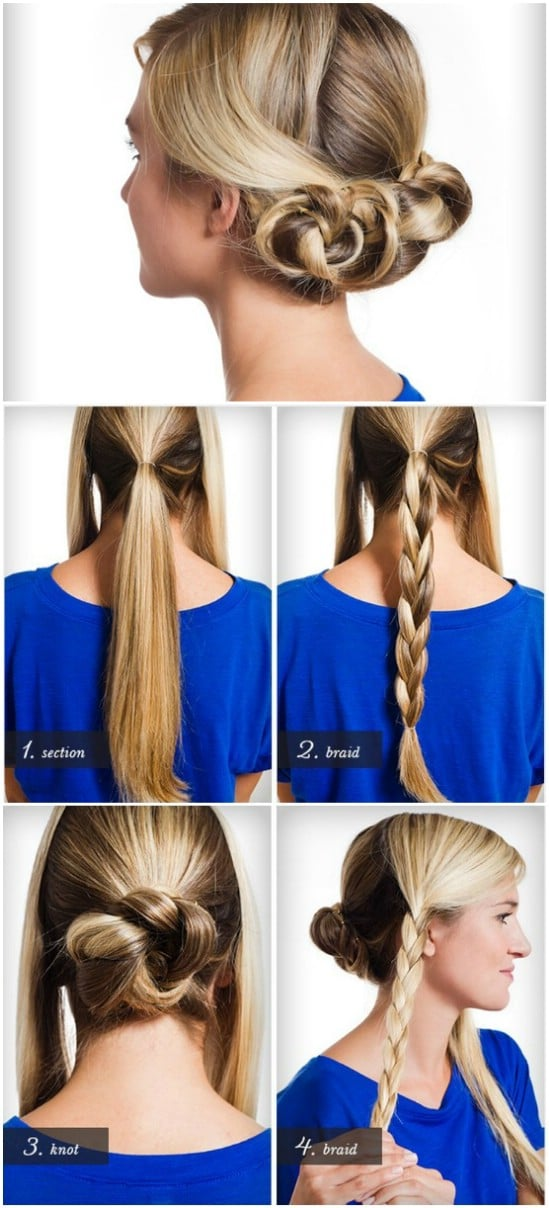Triple Braided Bun - 12 Super Cute DIY Christmas Hairstyles for All Lengths