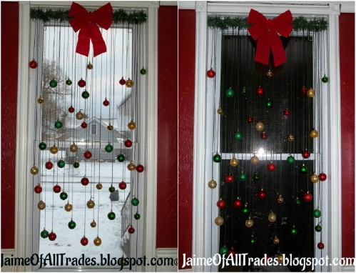 Ball Ornament Window Decoration - 20 Magical DIY Christmas Home Decorations You'll Want Right Now