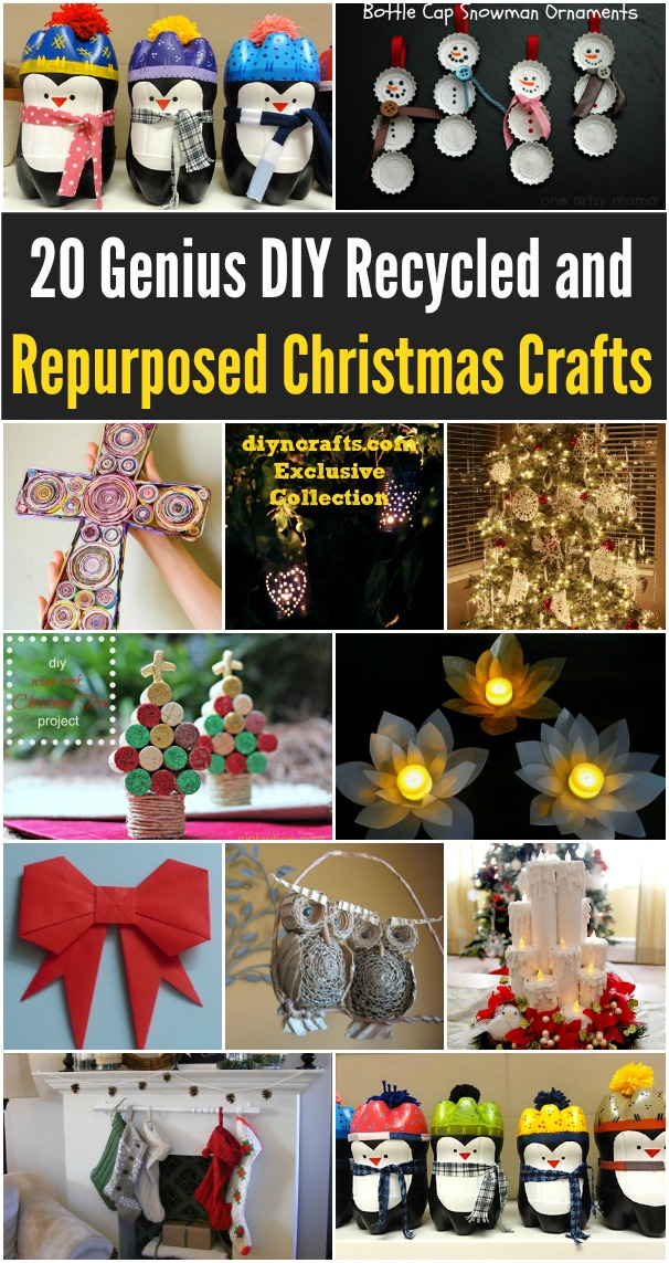 20 Genius Diy Recycled And Repurposed Christmas Crafts Diy