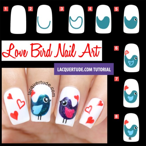 Lovebirds - 20 Ridiculously Cute Valentine's Day Nail Art Designs