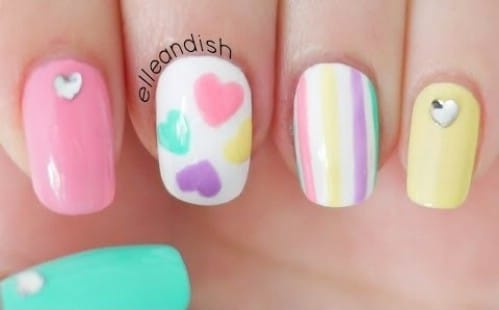 Pastel Love - 20 Ridiculously Cute Valentine's Day Nail Art Designs