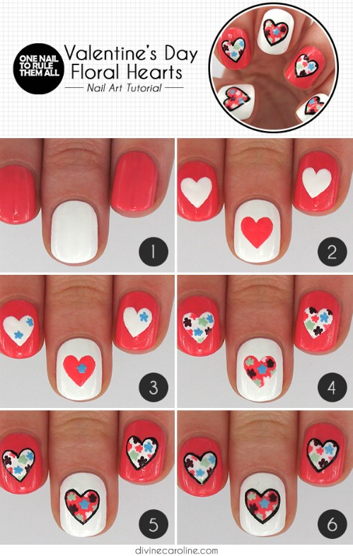Floral Hearts - 20 Ridiculously Cute Valentine's Day Nail Art Designs