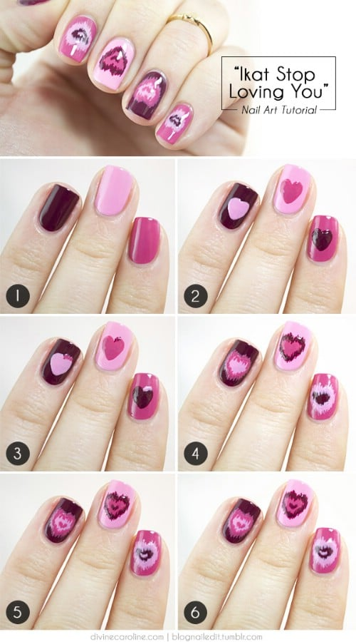 Ikat Hearts - 20 Ridiculously Cute Valentine's Day Nail Art Designs