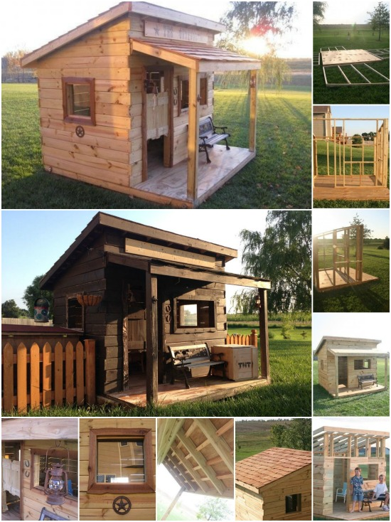Genius Woodworking Project: How to Build a Western Saloon Kid's Fort {Free Plans}