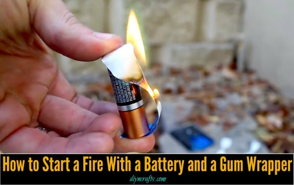 Survival Life-Hack: How to Start a Fire With a Battery and a Gum Wrapper Cant believe how easy this is.
