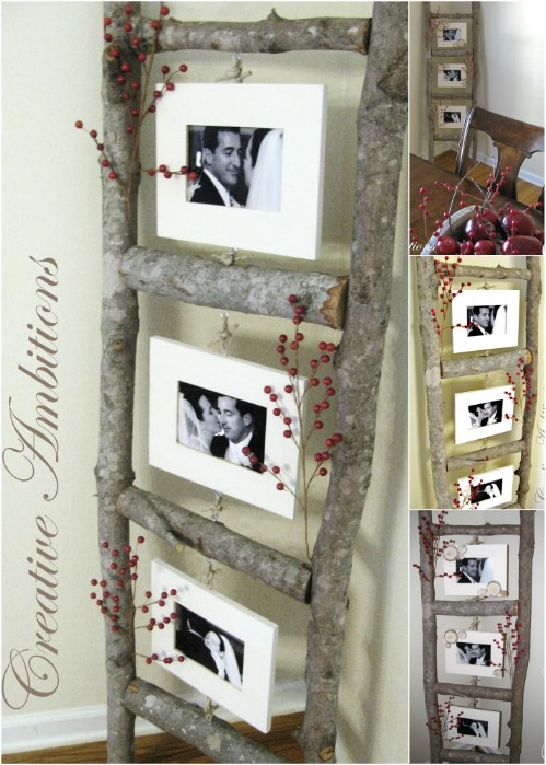 Handmade Ladder - 20 Cleverly Creative Ways to Display Your Cherished Photos