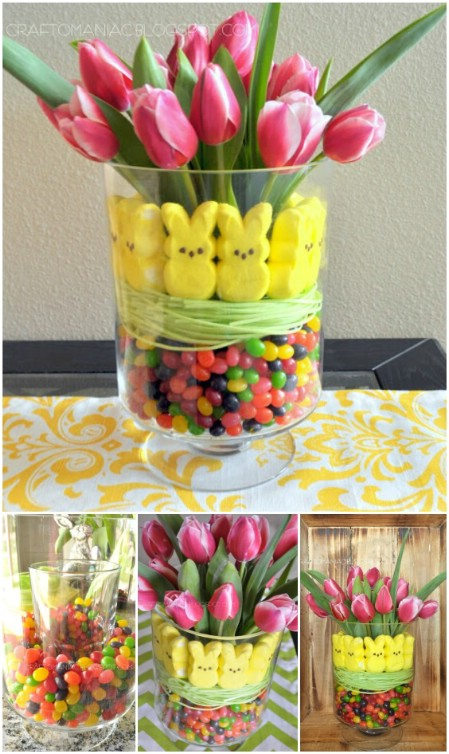 Beautiful, fun and edible Easter flower arrangement