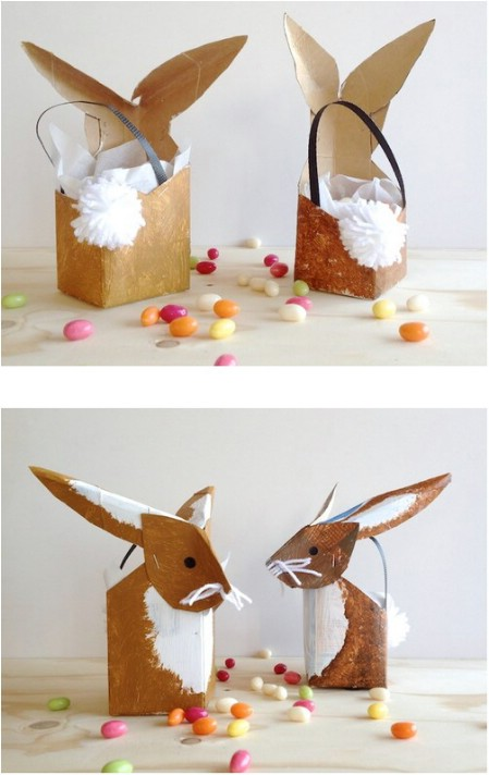 Bunny basket made from a milk carton