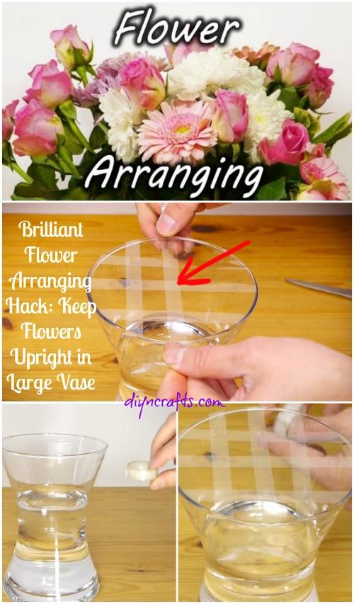 Brilliant Flower Arranging Hack Keep Flowers Upright In Large Vase Diy Crafts