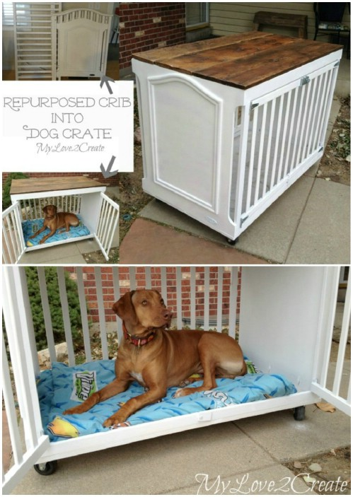 Doggie Crate - 20 Delightfully Creative and Functional Ways to Repurpose Old Cribs