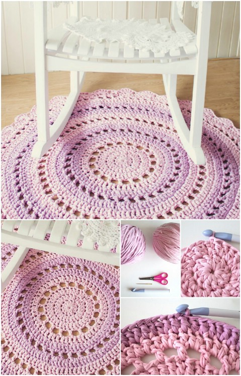 Crochet Mandala Rug - 30 Magnificent DIY Rugs to Brighten up Your Home