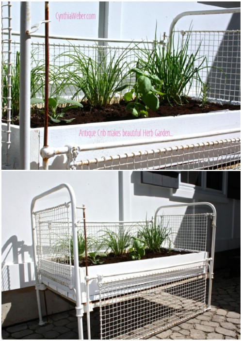 Herb Garden - 20 Delightfully Creative and Functional Ways to Repurpose Old Cribs
