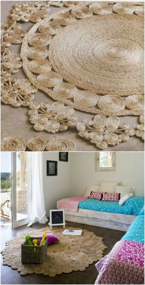 Rustic Rope - 30 Magnificent DIY Rugs to Brighten up Your Home