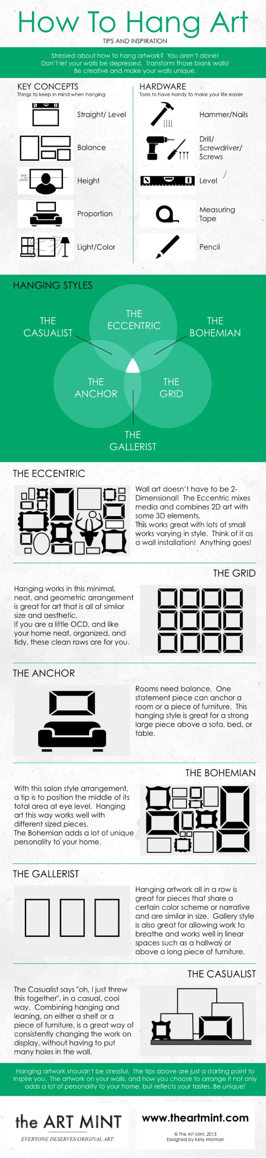 "26. Alternatives to the ""gallery"" style - 50 Amazingly Clever Cheat Sheets To Simplify Home Decorating Projects"