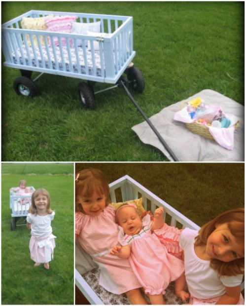 Play Wagon - 20 Delightfully Creative and Functional Ways to Repurpose Old Cribs
